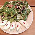 Raviolis de navets et salade de mâche