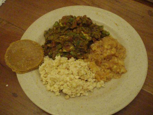 Repas indien (Plat principal) - Curry de champignons, riz de panais, chutney de pommes et chapati